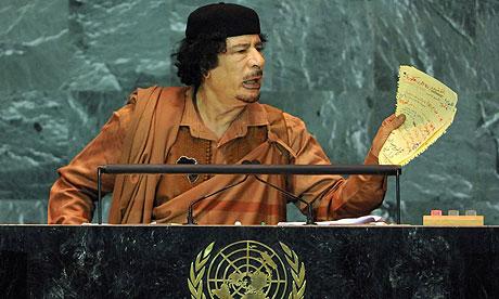 Mummar Gaddafi. Photograph: Jason Szenes/EPA